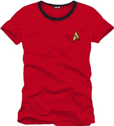 Star Trek Herren T-Shirt Uniforme, Rot (Rouge), S Star Trek Shirt Rot
