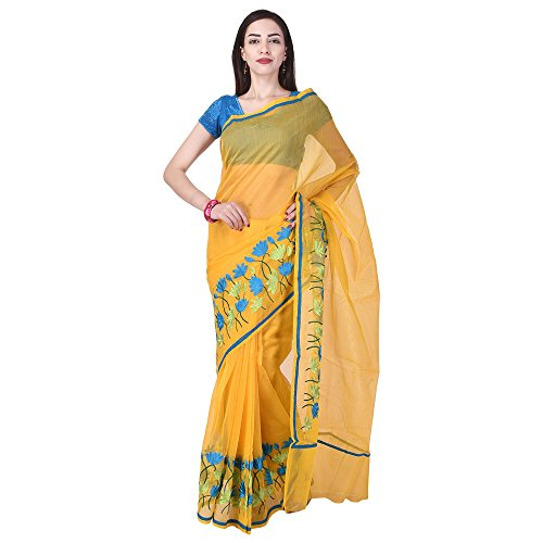 Rajasthani Look Women's Aari Work Pure Banarasi Cotton Supernet Saree With Blouse...