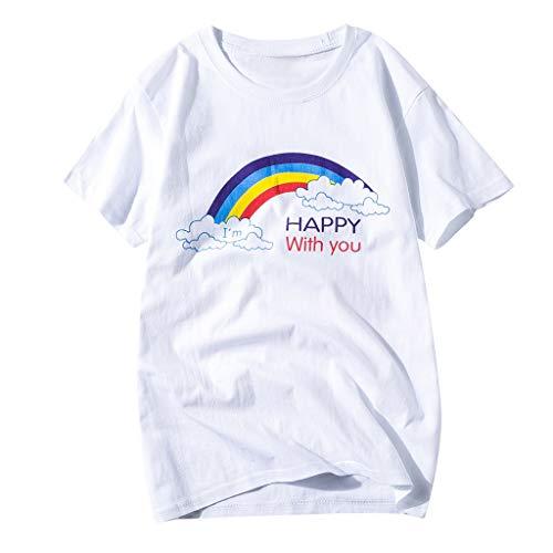Xmansky PartnerlookFrauen Männer Jugend Erwachsene Solid Rainbow Print Familie Passendes T-Shirt Tops,Geeignet für Freundinnen, Paare, Familien (Aus 80er-kostüm-ideen Paare Den)