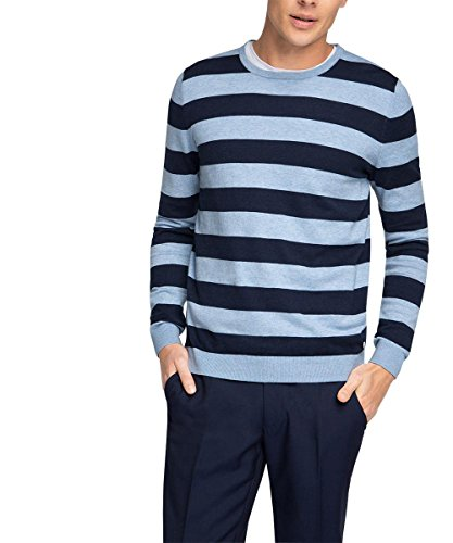 ESPRIT Collection Herren Pullover mit Seide, Gr. Large, Blau (LIGHT BLUE 440) (Look Seide Klassischen Pullover)