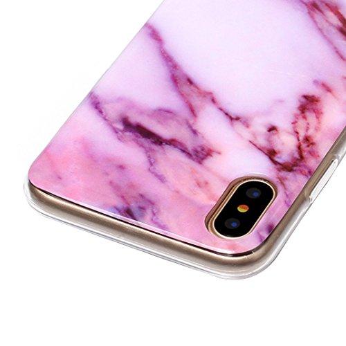 Handyhülle iPhone X Marmor, Asnlove TPU Silikon Hülle Case Cover Schale Backcover Handytasche Marble für Apple iPhone X / iPhone 10 5.8 Zoll 2017, Grau/Mandala Style-1