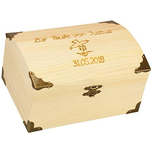 t Wunschgravur aus Holz - Geldgeschenk & Geschenk zur Taufe als Taufgeschenk für Jungen und Mädchen für Geld von Tauf-Paten und Großeltern (Personalisierte Spielzeug-truhen)