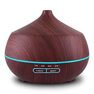 Tenswall 400ml Umidificatore con 7 Colori Cambiato di Luce LED,Diffusore Atomizzatore di essenze e aromi ad Ultrasuoni, Purificatore aria-Marrone