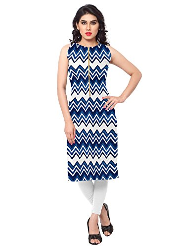 AHALYAA-Blue-Colored-Sleeveless-And-Round-Neck-Faux-Crepe-Kurti