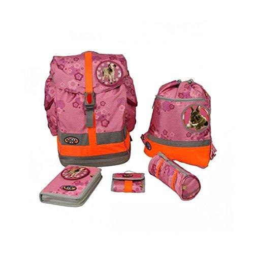 School Mood - Schulranzen 6 tlg. Set Fly - Pink Flowers Patchies Ziege