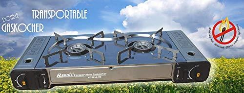 Tragbarer Doppel-Gaskocher Campingkocher Doppelbrenner -