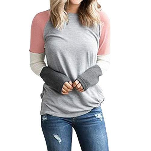 Casual T-Shirt zum Nähen ALISIAM Frau Kontrastfarbe Rundhalsausschnitt Lose Spitze Damen Casual Tops Ferien Sweatshirt Bluse