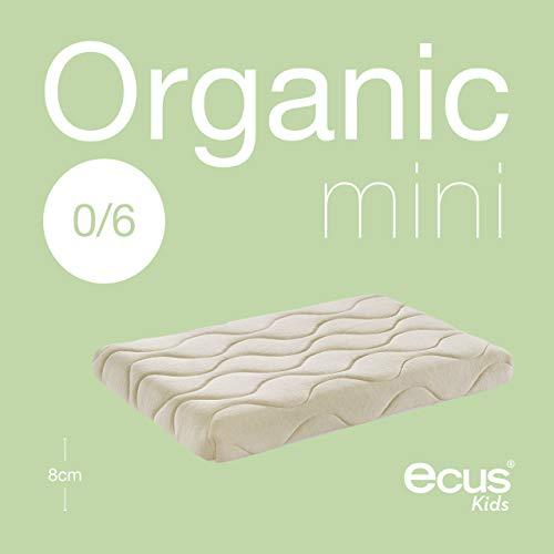 Ecus Kids Organic - Colchón de minicuna, 80 x 50 cm