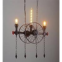 PC industriale metallo retrò Ciondolo lampada Creative in stile loft decorazione ruota luce tubo ristorante Cafe Bar luce ,Brown