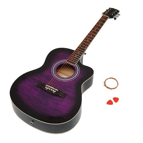 4/4 Design Akustik Gitarre Westerngitarre mit Flieder Lila Motiv und Saiten NEU