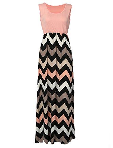 Sommerkleid Damen Partykleid Lang Chiffon High Waist Striped Sleeveless Beach Kleid Elegant - Très Chic Mailanda Pink