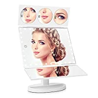 EASEHOLD 35 LED Lights Large Screen Tri-Fold Illuminated Makeup Mirror, 1X/3X/5X/10X Magnifying Vanity Mirror with Lights [Upgrade Version] (White)