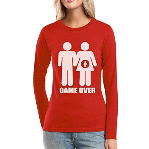 game over pregnant Lustiges Paarmotiv Frauen Langarm-T-Shirt Rot