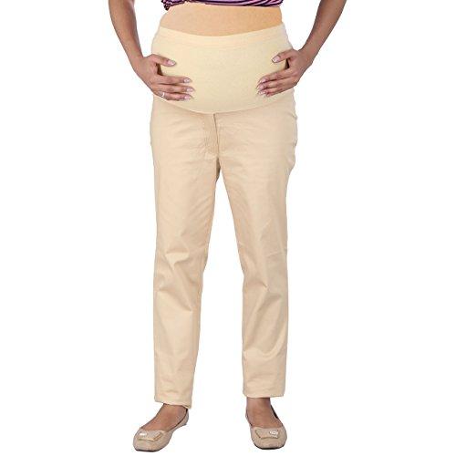 MomToBe Women's Cotton Maternity Trouser, Beige