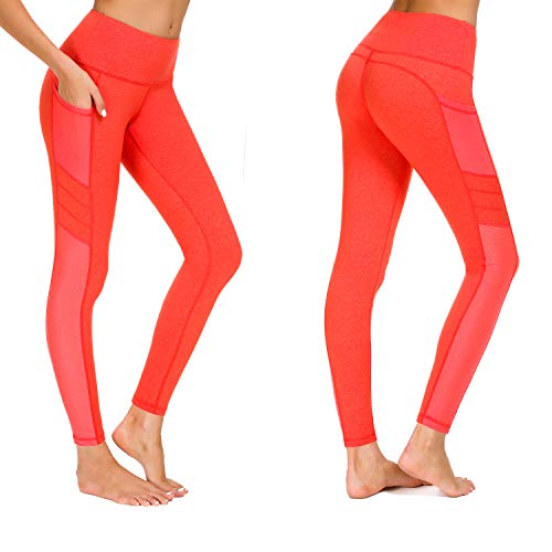 Munvot Damen Sporthose Sport leggings Tights, Orange, XL (DE44-46)