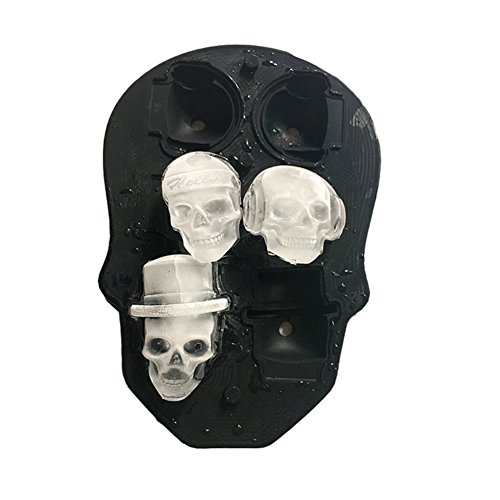 Qlan Stampo in Silicone Ice Cube Maker, cranio 3D stampo cubo di ghiaccio con coperchio