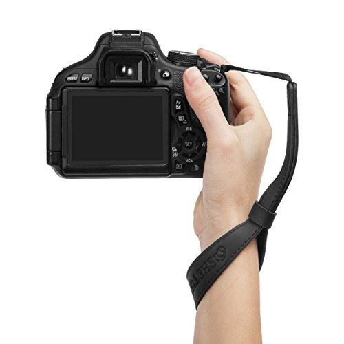 Woodmin DSLR Wrist Strap für Canon Nikon Pentax Sony usw. Modell LYN-241Z (Schwarz)