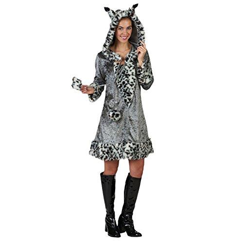Plüsch-Kostüm-Luchs in grau/weiß/schwarz (36/38) (Schwarze Und Weiße Katze Kostüm)