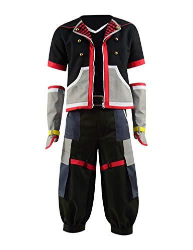 Qian Qian Herren Sora Kostüm Cosplay Jacke Hosen Gürtel Halloween Outfits (S, Schwarz ()