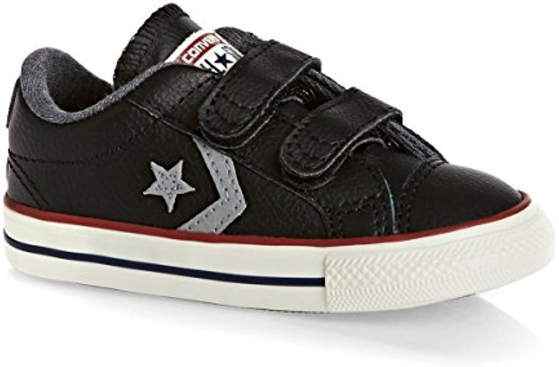 Converse Kinder Player 2V Leder Schuhe in Schwarzem Leder und Klettverschluss 758155C