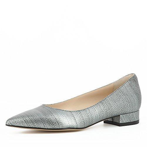 Evita Shoes FRANCA Damen Pumps Genarbtes Leder silber 37