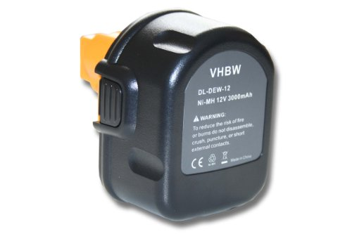 vhbw Ni-MH Akku 3000mAh (12V) für Werkzeuge Dewalt 2802K, 2812B, 2812K, 2832K, 2852B, 2861K-2 wie Black & Decker A9252 England SL1 3YD.