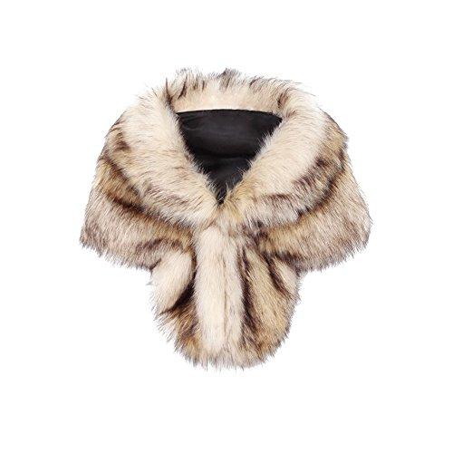 iBaste 2017 nouvelles femmes fourrure poncho automne hiver sexy moderne réchauffement cape fourrure châle écharpe col fourrure Pashmina Marron