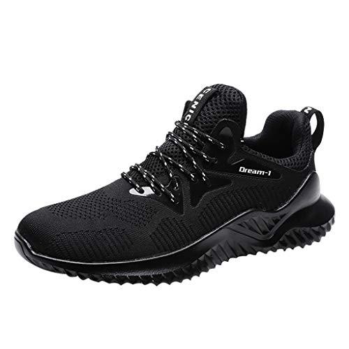 Skxinn Herren Sportschuhe Sport Laufschuhe Outdoorschuhe Turnschuhe Sneakers Leichte Schuhe Bequem Ultra-Light Joggingschuhe Mesh Tuch Sport Freizeitschuhe(Schwarz-B,44 EU)