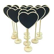 FRISTONE Cuore Mini lavagna Lavagnette messaggi di legno in legno con targhetta matrimonio numero etichetta/Partito impostazione decorazione,set da 10