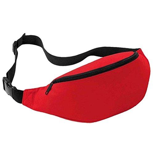 UIlarma Unisex Gürteltasche Sport Outdoor Hüfttasche Oxford Tasche Einstellbare Band (Lila) Rot