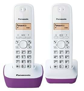 Panasonic KX-TG1612FRF Téléphone Duo sans fil DECT sans répondeur Pourpre