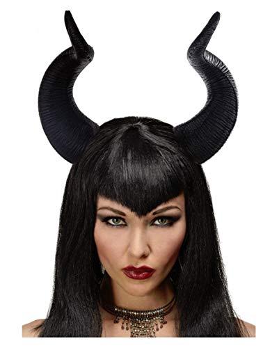 Horror-Shop Federleichte dunkle Märchenfee Malefiz Hexen Hörner für Halloween