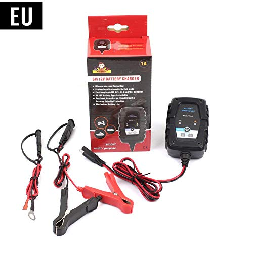 Wovemster 6V12V 1A Intelligentes Blei-Säure-Ladegerät Motorrad Autobatterie AGM Ladegerät SAE-Kabel für Auto-Motorrad-Roller-Ladegerät mit SAE-Schnellkupplung