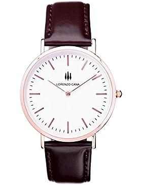 LORENZO CANA Luxus Armbanduhr vergoldet Schweizer Uhrwerk Saphirglas 40 mm Durchmesser Echtleder Armband Uhrenbox...