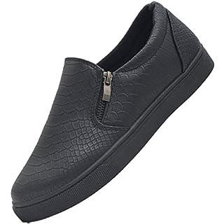 SAlin Shoes© modische Tred Damen Slipper in 6 Farben (39, Schwarz mit Reißverschluss)