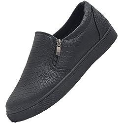 SAlin Shoes© modische Tred Damen Slipper in 6 Farben (36, Schwarz mit Reißverschluss)