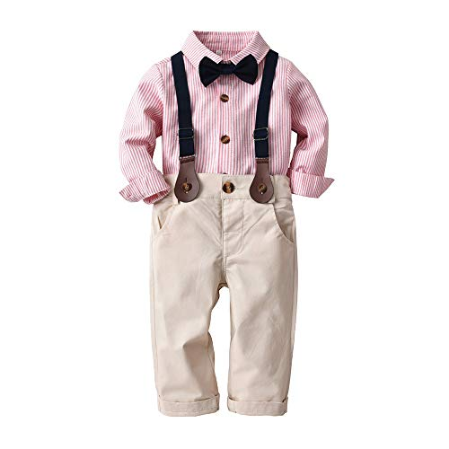 bobo4818 Baby Jungen Gentleman Outfits Anzüge, Kleinkind Kurzarm Shirt + Trägerhose + Fliege Overalls Kleidung Set (6-12 Months, Rosa)