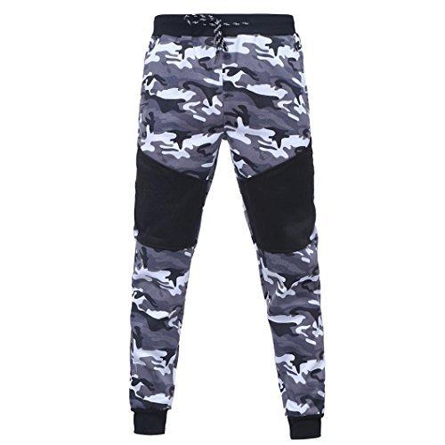 Pants Herren,Binggong Männer Outdoor Camouflage Schwarz Spleißen Kordelzug Hosen Hosen gut aussehend Slim Stretch Freizeit pants Casual Jogger Dance Sportwear Slim (Schwarz, XXXL) (Kordelzug Shorts Fußball)