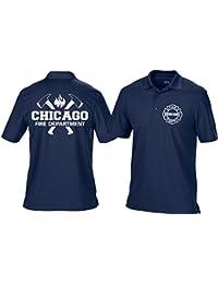 Polo bleu marine multifonctions, Chicago Fire Dept. avec emblème haches et standard, argent Edition