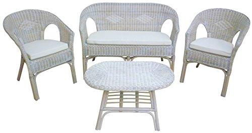 Sf savino filippo set completo salotto in vimini bambù rattan e giunco bianco shabby chic divano poltrone tavolo kelek