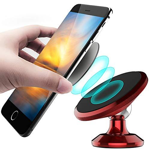 CLM-Tech Kfz Smartphone-Halter, 360° einstellbare Handyhalterung universal mit Magnet, Auto-Halterung am Armaturenbrett für Handys, rot Rot-auto-magnet