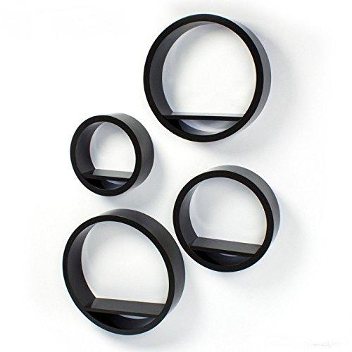 Lot de 4 étagères cubes murale de diamètre différent noir ETA06025