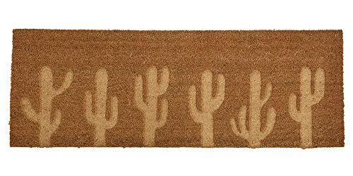 zeitzone Fußmatte Kokos Kaktus Extra Lang Fußabtreter Groß Braun 120 cm x 40 cm
