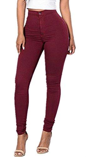 LooBoo Damen High-Waist Stretch Röhrenjeans Denim Jeans Modern Lässige Hosen Weinrot