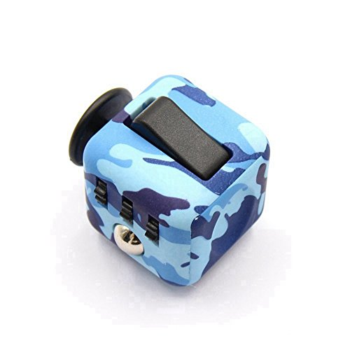 Dohomai 6 sides Fidget Cube Decompression Dice for Children and Adults Relieves Stress Anxiety and Attention Toy at your finger tips (Army blue) - 2