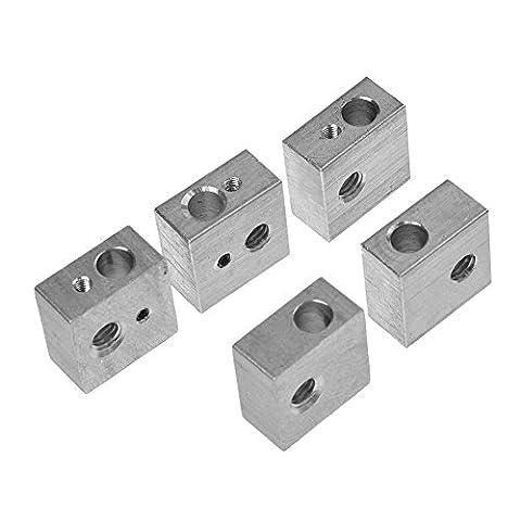 HICTOP 5PCS Aluminum Heater Block M6 Specialized for MK7 MK8 Makerbot Medel I3 3D Printer Extruder Hot End Heating