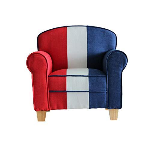 Microsuede-lounge (Lineary Leichter Freizeitstuhl Freizeit-Sofa Kinder gepolstert Stuhl Roundy Child Size Stuhl mit Microsuede Ottoman rot und weiß Bule Lounge-Sessel)