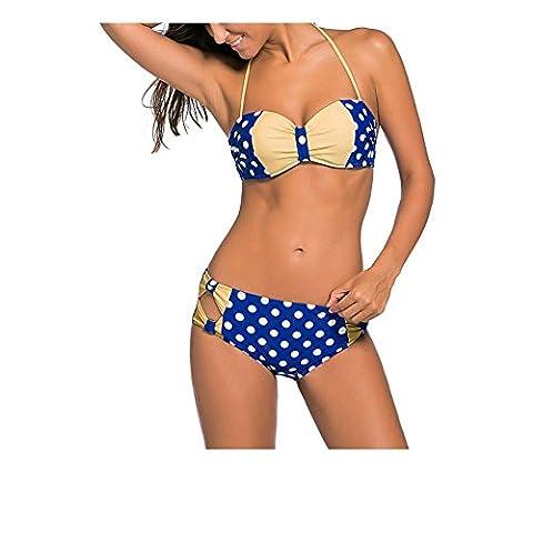 Erica Bikinis taille haute pour dames Vintage Polka Dots Impression Bow Deux Pieces Set Maillot de bain Underwire Soutien-gorge rembourré Polyester , blue , m
