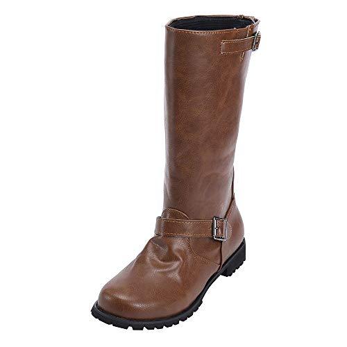 FeiBeauty Damen Elegant Stiefel Winterstiefel Mittlerer Lederstiefel Absatz mit Schnalle Blockabsatz Schuhe Schenkelhoch Outdoor Stiefel -