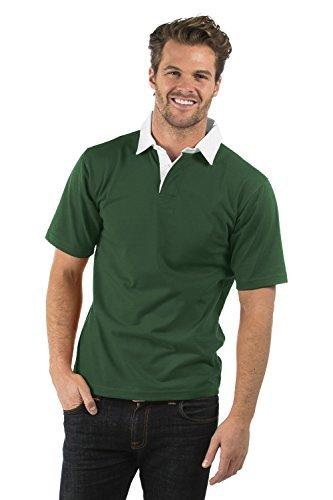 Bruntwood Aufgeld Kurzarm Rugby Hemd - Premium Short Sleeve Rugby Shirt - Herren & Damen - 280GSM - Baumwolle/Polyester (Flaschengrün, S) -